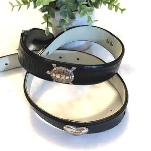 Vintage Black Leather Belt Silver Turtles & Hearts